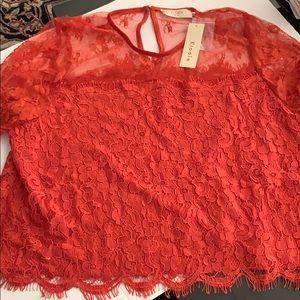Red /orange short sleeve blouse